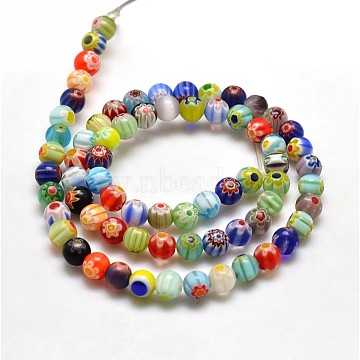 Round Millefiori Glass Beads Strands, Mixed Color, 6mm, Hole: 1mm; about 60pcs/strand, 14.7 inches(X-LK-P001-21)