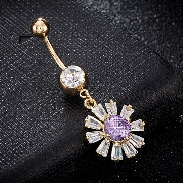 Environmental Brass Cubic Zirconia Navel Ring, Belly Rings, with Use Stainless Steel Findings, Real 18K Gold Plated, Daisy, Lilac, 45x17mm, Pin: 1.5mm(AJEW-EE0004-21D)