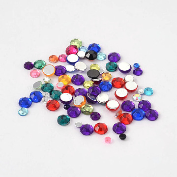 Imitation Taiwan Acrylic Rhinestone Cabochons, Faceted, Half Round, Mixed Color, 2~4x1~1.5mm(GACR-X0004)