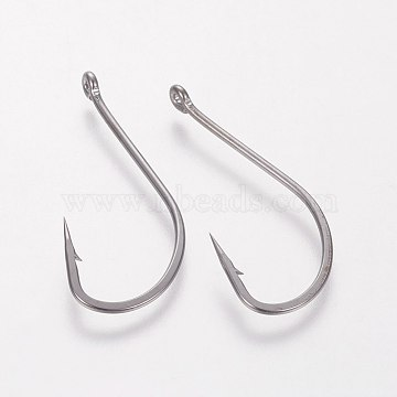 Stainless Steel Carp Fishing Jig Hooks, with Hole, Fishing Tackle, Gunmetal, 37x16x1.1mm, Hole: 1.1mm(STAS-WH0012-02C)