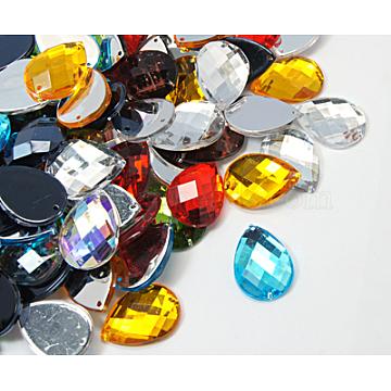 Sew on Rhinestone, Acrylic Rhinestone, Two Holes, Garments Accessories, Teardrop, Mixed Color, 21x15x5mm(X-GACR-15x21mm-M)