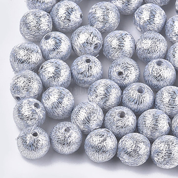 Polyester Thread Fabric Covered Beads, with ABS Plastic Inside, Round, Silver, 12x13mm, Hole: 2mm(WOVE-T009-12mm-06)