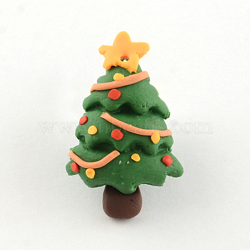 Handmade Christmas Tree Polymer Clay Pendants, Green, 30x19x7mm, Hole: 1mm(X-CLAY-R060-24)