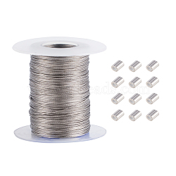 304 Stainless Steel Wire Rope, Jewelry DIY Making Material, Stainless Steel Color, 0.5mm, about 100m/roll(OCOR-WH0032-09)