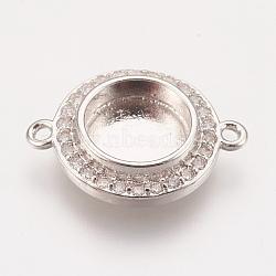 латунные микро проложить кубических ссылки циркония, кабошон параметры соединителя, чашки безель с краем, платина, лоток: 8 мм; 17x13x3 мм, отверстия: 1.2 mm(X-KK-P146-01P)