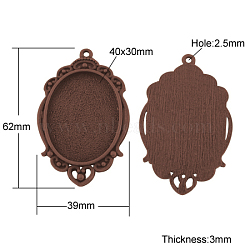 Supports de cabochon en alliage de style tibétain, sans plomb et sans nickel, ovale, cuivre rouge, plateau: 40x30 mm; 62x39x3 mm, Trou: 2.5mm(X-TIBEP-A22962-R-FF)
