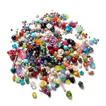 Cobeads Luck Bag, include Mixed Polymer Clay Flower Beads, Imitation Pearl Beads, Acrylic Beads, Resin Beads, Mixed Color, 10~105mm