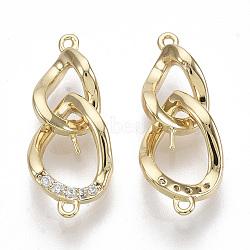 liens de bails en laiton, avec de la zircone cubique clair, pour la moitié de perles percées, sans nickel, forme de la chaîne du trottoir, réel 18 k plaqué or, 20x8x3.5 mm, trou: 0.8 mm; broches: 0.5 mm(KK-S355-025-NF)