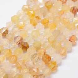 Природный цитрин бисер нитей, звезды вырезать круглые бусы, граненый, 10 mm, отверстия: 1 mm; о 37 шт / прядь, 14.7(G-K209-02B-10mm)