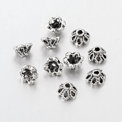Antique Silver Flower Bead Caps, Tibetan Silver, Cadmium Free & Lead Free, about 6.5mm in diameter, Hole: 1mm(X-AA296)