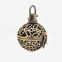 Pendentifs de cage creuse en laiton, pour la fabrication de collier pendentif boule carillon, rond, bronze antique, 36mm, 29x27x23mm, trou: 6x6 mm; diamètre intérieur: 21 mm(KK-P141-08)