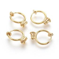 Environmental Brass Clip-on Hoop Earrings, For Non-pierced Ears, with Brass Spring Findings & Ear Nut, Golden, 18x13mm, Hole: 0.8mm(X-KK-L168-04G)