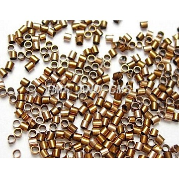 Brass Crimp Beads, Cadmium Free & Lead Free, Tube, Red Copper Color, Size: about 2.5mm long, 2.5mm wide, hole: 2mm; about 550pc/10g(X-KK-S069-R-LF)