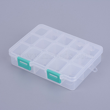 MediumTurquoise Rectangle Plastic Beads Containers