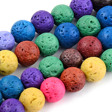 Natural Lava Rock Beads Strands, Dyed, Round, Mixed Color, 10mm, Hole: 1mm; about 39pcs/strand, 14.96 inches(38cm)(X-G-S247-10mm-01)