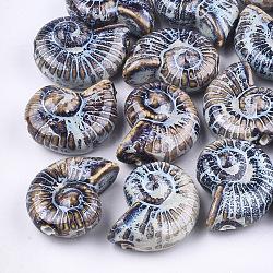 Handmade Porcelain Beads, Fancy Antique Glazed Porcelain, Sea Snail, Colorful, 39~40x30~31x16.5~18mm, Hole: 2.5~3.5mm(X-PORC-S498-32C)