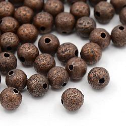 Perles texturées, laiton, sans nickel, rond, couleur de cuivre rouge, environ 8 mm de diamètre, Trou: 1.5~2mm(X-EC225-NFR)