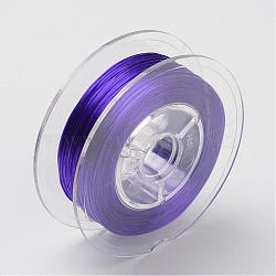 Chaîne de cristal élastique plate teinte à l'environnement japonaise, fil de perles élastique, pour la fabrication de bracelets élastiques, plat, violet, 0.6mm; Environ 60 m / rouleau (65.62 heures / rouleau)(EW-F005-0.6mm-01)