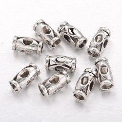 30pc Tibetan Silver Alloy Flower Column Beads Metal Loose Spacer Jewelry 17x10mm