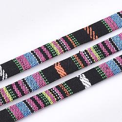 cordons de coton, cordon ethnique, coloré, 9.5~10x1.5~2.5 mm; sur 5 m / rouleau(OCOR-S019-02E)