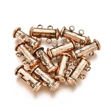 2-Strands 4-Holes Tube Brass Magnetic Slide Lock Clasps, Nickel Free, Red Copper, 16x10x7mm, Hole: 1.5mm(KK-D472-R-NF)