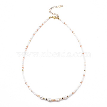 Beaded Necklaces, with Brass Beads, Glass Beads, Natural Pearl Beads and 304 Stainless Steel Lobster Claw Clasps, Golden, Light Salmon, 17.91 inches(45.5cm) (NJEW-JN03075-04)