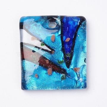 main pendentifs en verre de feuille d'argent, avec du sable d'or, rectangle, coloré, 39.5~43x33~35x8~9 mm, trou: 5~6 mm(X-FOIL-E103-04A)