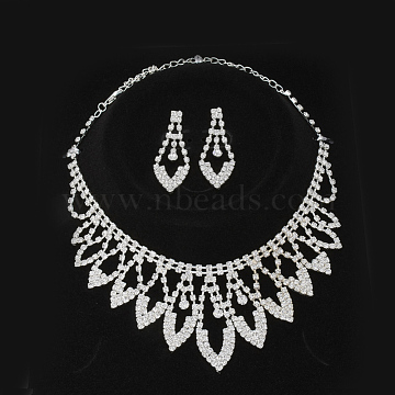 Fashionable Wedding Rhinestone Necklace and Stud Earring Jewelry Sets, Bridal Tiaras, with Iron and Brass Base, Silver Color Plated, Crystal, 9.8inches(250mm)x53mm; 50x19mm, pin: 0.8mm(SJEW-S042-07)