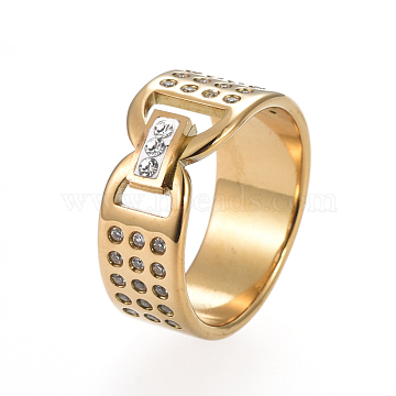 Unisex 304 Stainless Steel Finger Rings, Wide Band Rings, with Crystal Rhinestone, Rectangle, Golden, Size 6~9, 16~19mm(RJEW-I063-11G)