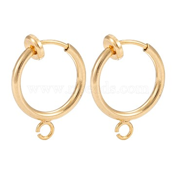 316 Surgical Stainless Steel Clip-on Hoop Earrings, For Non-pierced Ears, with Brass Spring Findings, Golden, 16.5x13x1.5mm, Hole: 1.5mm(X-STAS-S101-13mm-01G)