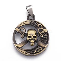pendants en alliage de style tibétain, avec les résultats en acier inoxydable, plat rond avec le crâne, bronze antique, 35x29x9 mm, trou: 4x9 mm(X-PALLOY-E509-27AB)