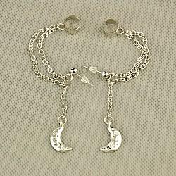 mode de style tibétain oreille manchette boucles d'oreilles, avec des chaînes de câble de fer, pièces en laiton et écrous d'oreilles en plastique, argent antique, 60 mm(EJEW-JE00561-09)