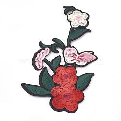 Tissu de broderie informatisé fer/coudre sur les patchs, accessoires de costumes, appliques, fleur avec papillon, colorées, 180x106x1.5mm(X-AJEW-S069-095)