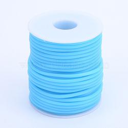 Tuyau creux corde en caoutchouc synthétique tubulaire pvc, enroulé aurond de plastique blanc bobine, bleu foncé, 4mm, trou: 2 mm; environ 15 m / rouleau(RCOR-R007-4mm-05)