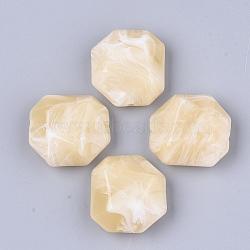 perles acryliques, style de pierres précieuses imitation, facettes, polygone, LemonChiffon, 35x32.5x16 mm, trou: 2.5 mm(OACR-T011-166E)