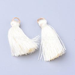 gland de nylon suspendus décorations, Avec anneaux de saut de fer non soudés, or, oldlace, 26~33x4.5~5 mm, trou: 2 mm(X-OCOR-S106-24)