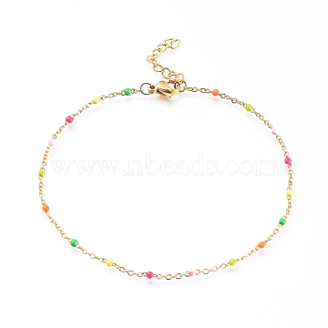 304 Stainless Steel Cable Chain Anklets, with Enamel Links, Golden, Colorful, 9 inches(23cm); 1.5~2mm(AJEW-H010-01M)