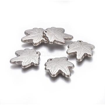 Autumn Theme CCB Plastic Pendants, Maple Leaf, Platinum, 25x21x4mm, Hole: 1mm(CCB-J030-28P)