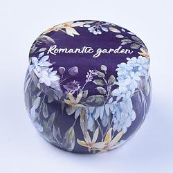 Printed Tinplate Box, Jewelry Box, Candy Box, Flower Pattern, Indigo, 7.6x5.2cm; Inner Diameter: 6.3cm(CON-TAC0004-01J)
