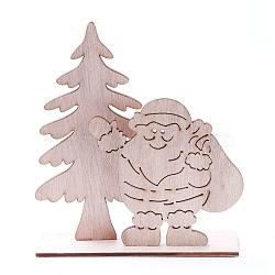 décorations pour la maison en bois non teint, arbre de noël avec le père noël, burlywood, 116x42.5x132.5 mm; 3 PCs / ensemble(DJEW-F006-05)