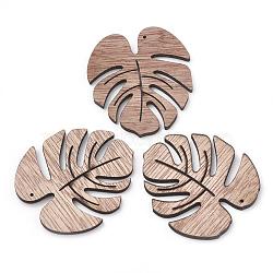 Pendentifs en bois non teint, feuille de monstera, chameau, 49x45x3mm, Trou: 1mm(X-WOOD-S040-80)