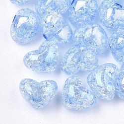 Perles en acrylique transparentes craquelées, demi-percés perles, cœur, Bleu ciel, 14.5x18x13mm, demi-trou: 3.5 mm(TACR-S148-04C)