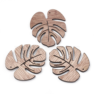 Undyed Wooden Pendants, Tropical Leaf Charms, Monstera Leaf, Camel, 49x45x3mm, Hole: 1mm(X-WOOD-S040-80)