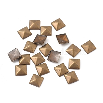 Brass Hotfix Iron On Rivets, Flat Back Pyramid Studs, Flatback Glue on Studs, Antique Bronze, 6x6x2.3mm, about 10000pcs/bag(KK-WH0033-84AB)