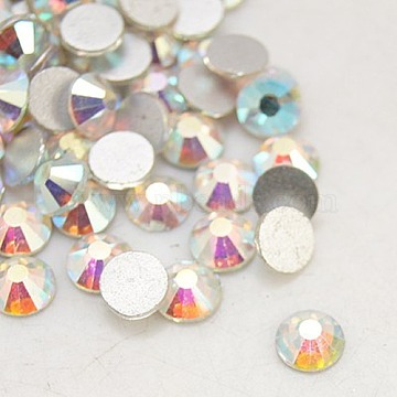 Glass Flat Back Rhinestone for Clothing, Grade A, Back Plated, Faceted, Half Round, Crystal AB, 4.6~4.8mm(X-RGLA-C002-SS20-101)