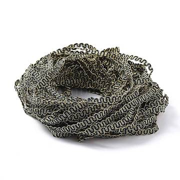 Filigree Corrugated Lace Ribbon, Wave Shape, for Clothing Accessories, Home Decoration, Black, 3/8 inches(9~10mm)(OCOR-H105-12)