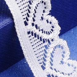 """Fils de ficelle en nylon de garniture en dentelle extensible pour la fabrication de bijoux, avec un motif de coeur, blanc, 3/4"""" (18 mm); 200yards / roll (182.88m / roll)(OCOR-I001-117)"""
