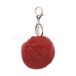 Pom Pom Ball Keychain, with Alloy Lobster Claw Clasps and Iron Key Ring, for Bag Decoration, Keychain Gift and Phone Backpack, Light Gold, FireBrick, 138mm(X-KEYC-WH0016-13F)