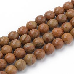 """Chapelets de perles en jaspe avec images naturelles, facette, rond, 8~8.5mm, trou: 1mm; environ 47 pcs/chapelet, 15.5""""(G-Q462-101-8mm)"""