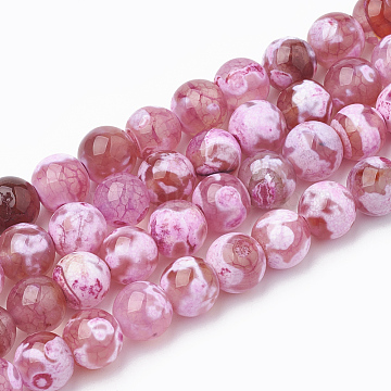 8mm HotPink Round Fire Agate Beads